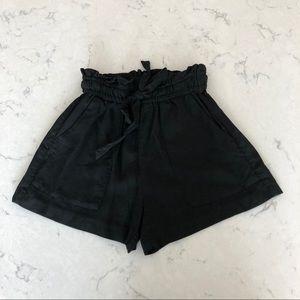 H&M High Waist Paper-Bag Shorts in Black